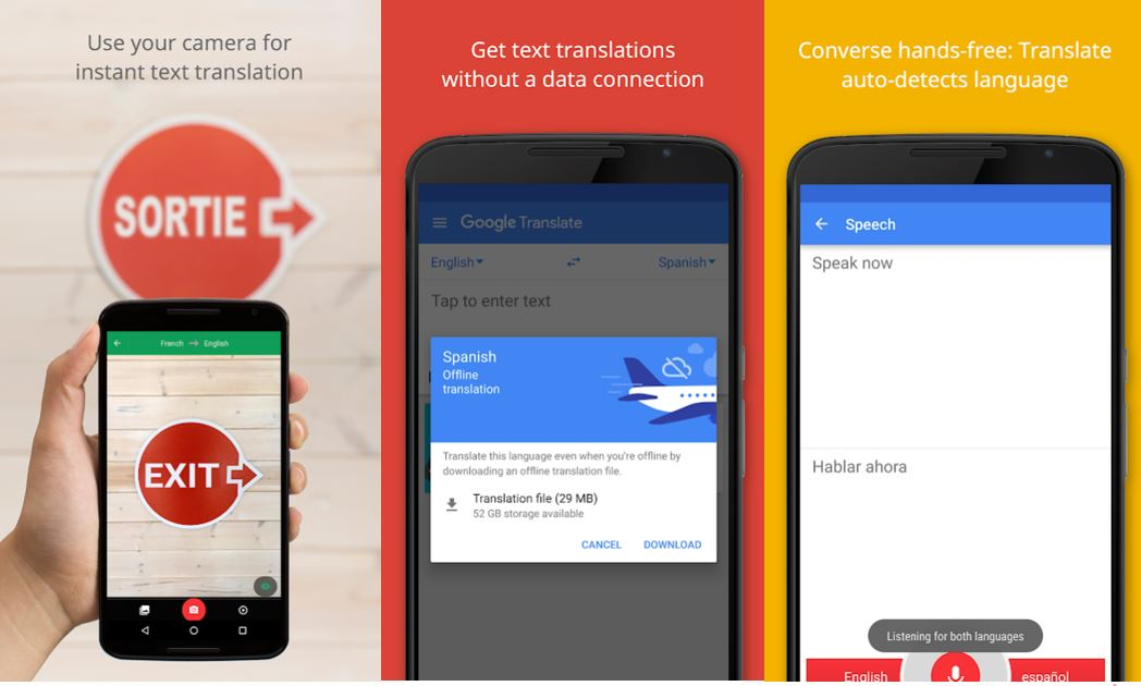 google translate app screen